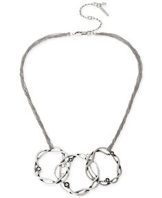 Kenneth Cole New York Silver-Tone Twist Circle Frontal Necklace
