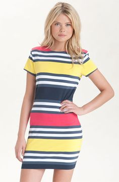 French Connection Crewneck Stripe Dress - pink, yellow, and blue stripey chic. Ladies Day Dresses, Casual Dresses For Women, French Connection Dress, Cute Summer Dresses, Glamour, Fashion Outfits, Womens Fashion, Nordstrom Dresses, Striped Dress