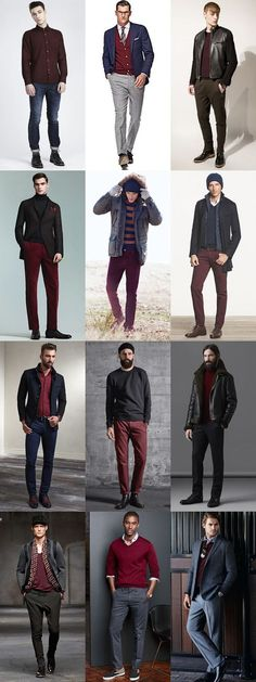 Men's Burgundy Staples (Knitwear, Shirts, T-Shirts, Trousers/Chinos) - Autumn/Winter Outfit Inspiration Lookbook http://www.99wtf.net/men/mens-fasion/mens-urban-trouser-2016/