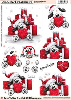 Craft Creations A4 die cut decoupage - Puppy Love, Christmas