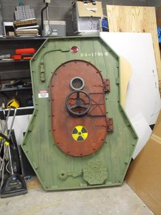 """""""bomb shelter door"""" made from cardboard and foamboard"""