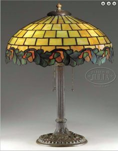 Duffner & Kimberly Acorn and Oak Leaf Table Lamp..... Tiffany Type Art Leaded Stained Opalescent Glass and Bronze.....