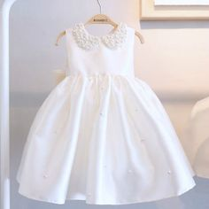 Shop Designer Baby Collar Ivory Flower Girl Dress With Pearls Big Bow In Back online. Super cute styles with couture high quality. Baby Girl White Dress, Ivory Flower Girl Dresses, Little Girl Dresses, Baby Dress, Girls Dresses, Baby Girl Gowns, Kids Frocks, Frocks For Girls, Baby Girl Dress Patterns