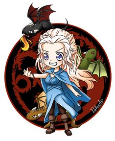 Character: Daenerys Targaryen TV series/books: Game of Thrones Tools/Program: Clip Studio Paint Pro / Cintiq Date Finished: Fanart - Chibi Daenerys Game Of Thrones Cartoon, Arte Game Of Thrones, Game Of Thrones Dragons, Got Dragons, Mother Of Dragons, Anime Chibi, Kawaii Anime, Tatuagem Game Of Thrones, Chibi Games