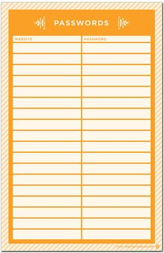 computer website password organization list I NEED THIS! Arc Planner, Planners, Organization Lists, Home Binder, Office Supply Organization, Getting Organized, Helpful Hints, How To Plan, Tags