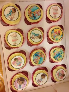 Doc mcstuffins cupcakes with vanilla butter cream! Recipe for 12 cupcakes (Mary Berry) Vanilla butter cream... 10oz icing sugar, 5oz butter, 1 cap vanilla essence and 3 tablespoons milk :)
