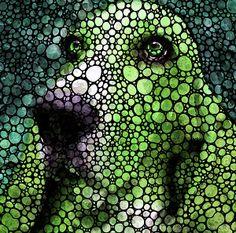 Stone Rock'd Basset Hound Pop Art By Sharon Cummings