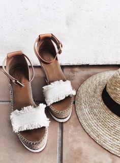fringe espadrilles + straw beach hats