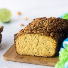 This healthy, paleo bread is made of coconut flour, pineapple and lime juice. Complete with macadamia streusel, you will love this recipe! Click to get it!