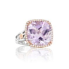 Tacori style no. SR100P13. Structural crescent designs in glossy .925 silver form the contours of this vibrant, blushing Rose Amethyst ring. Blushing 18k rose gold and glittering diamonds frame the cushion-cut shape for a fantasy fusion of subtle sophistication and modern design.