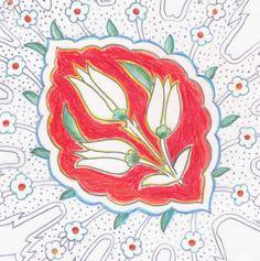 Tekening uit Kleurboek No. 1. Het motief komt van een tegel uit de Rüstem Pasha Moskee in Istanbul. #kleurboek #inspiratie #kleur #istanbul #tulpen
