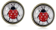 """Betsey Johnson """"Lucky Charms"""" Ladybug Button Stud Earrings. Items that are handmade may vary in size, shape and color. Made in China."""