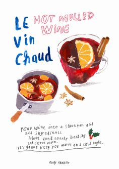 Vin Chaud (mulled wine) illustration by MoreParsley  moreparsley.com