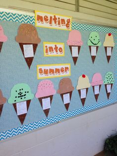 """Ice cream summer bulletin board. Places to go during summer written on cone. """"Ice cream"""" to go..."""