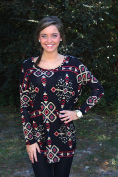 Let's Get Aztec-y Tunic: Black