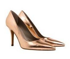 Tribeca Rose Gold metallic pointed stiletto heel pumps