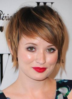 Short Haircut with Long Bangs with round face