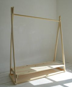 Handmade Natural Wood Clothes Rail with Shelf in pure