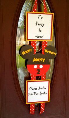 Mickey Mouse Birthday Door Banner - Hanger Red, White & Gold. $20.00, via Etsy.