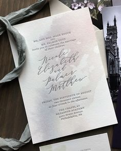 Purple and Gray Watercolor Wash Wedding Invitations by Darling and Pearl Wedding Invitations Elegant Modern, Laser Cut Wedding Invitations, Wedding Stationary, Wedding Crafts, Wedding Favors, Dark Purple Wedding, Name Place Cards, Letterpress Printing, Event Decor