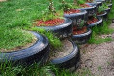 This small retaining wall was constructed from tyres salvaged from a local mechanic. Photo / Chris Cochrane