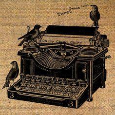 Digital Collage Sheet Burlap Typewriter Vintage Digital Download Birds Typography Fabric Transfer Iron On Pillow Tote Tea Towel 1687. $1.00, via Etsy.