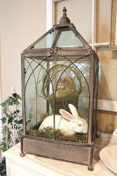 Vintage Decor Ideas Gorgeous Easter Display - Use a lantern to feature a ceramic bunny. Vintage Lanterns, Lanterns Decor, Vintage Decor, Porch Lanterns, White Lanterns, Vintage Stuff, Diy Ostern, Easter Crafts, Easter Decor