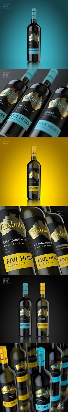 FIVE HEIRS - australian wines  http://shumilovedesign.eu/portfolio/directions/packaging-20
