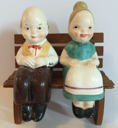 RARE Vintage Old Couple Man Woman Salt & Pepper Shakers w/Corks Wood Bench Japan