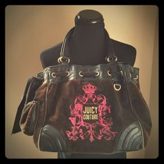 """Juicy Couture """"born 2 be glamorous"""" velour handbag Juicy Couture """"Born to be Glamorous"""" dark brown velour with black leather trim handbag / tote.  This bag is in very worn & used condition (please see other pictures for more details). The bag has been worn through on the corner leather stitching, handles are a bit shredded and there is fading throughout the brown velour.  Inside of bag clean with no flaws or defects.  Dimensions: 15""""L x 6""""W x 11""""H.  Bag is sold in current condition AS IS to…"""