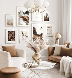 Beige Living Rooms, Home Living Room, Living Room Decor, Beige Room, Cream And Gold Living Room, Living Room Gallery Wall, Beige Walls Bedroom, Living Room Pictures, Home Room Design