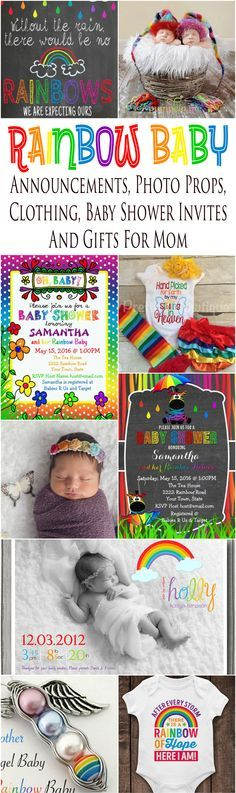 Rainbow Baby Announcement Cards, Baby Shower Invites, Clothing, Photo Props And Gift Ideas For Moms | Glitter \'N\' Spice