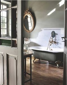 The bath tub. Beautiful bathroom but i just want the bath tub! Home Interior, Bathroom Interior, Interior Design, Design Bathroom, Attic Bathroom, White Bathroom, Bathroom Green, Bathroom Marble, Neutral Bathroom