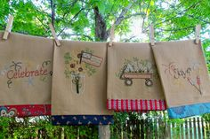 Pattern to Hand Embroider these Patriotic Tea Towels. $9.00, via Etsy.