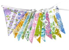 Vintage Bunting - Retro Pretty Multi-Colour Floral by MerryGoRoundHANDMADE