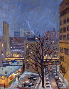 Oil Painting Landscape Snow Nocturne NYC. Original 11x14 Oil