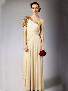luxury grecian one shoulder maxi wedding dress with beautiful neck trim