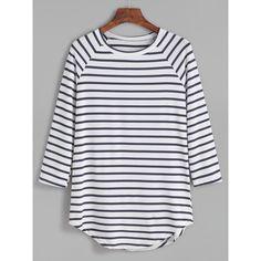 SheIn(sheinside) Contrast Striped Raglan Sleeve Curved Hem T-shirt (515 RUB) ❤ liked on Polyvore featuring tops, t-shirts, shirts, blouses, blue, curved hem t shirt, blue striped shirt, blue t shirt, long sleeve tees and sport t shirt