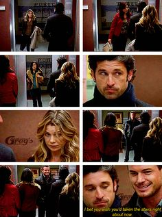 Mark (whispers to Derek): I bet you wish you'd taken the stairs right about now.