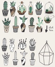 Gorgeous succulents, cactus planner doodles and bullet journal drawings - Doodle and Draw - Cactus Doodle Drawings, Cute Drawings, Doodle Art, Cactus Drawing, Plant Drawing, Succulents Drawing, Succulents Painting, Succulents Art, Planner Doodles