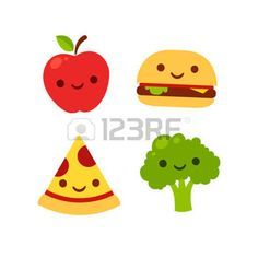 fruit cartoon: Cute cartoon icons with smiling faces: apple, broccoli, burger and pizza. Fast food and healthy food vector illustration.