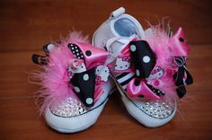 BABY SHOWER Gift  Hello Kitty Bows on Converse by PrincessSneakers, $69.95