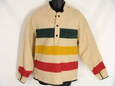 #vintage 60s 70s #Woolrich Pullover Wool Hudson Bay Blanket Stripe Coat Jacket Poncho with Thumb Holes L XL by wardrobetheglobe, $124.00