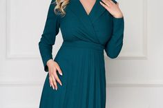 Rochie verde office scurta plisata in clos cu maneci lungi si decolteu in v Wrap Dress, Dresses With Sleeves, Long Sleeve, Fashion, Green, Moda, Sleeve Dresses, Long Dress Patterns, Fashion Styles