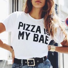 Pizza is my Bae Tee - The Wild Flower Shop  Cute & Simple everyday Tee! • Round neckline Material: Cotton blend   $16