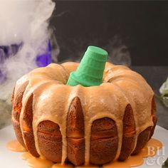 Carve into this look-alike pumpkin cake for a festive Halloween party dessert.