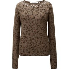 The new collection in collaboration with the leading global fashion icon Carine Roitfeld. This luxurious sweater is made from fine cashmere, for a signature smooth, soft feel and premium texture. A seasonal leopard print plus eyelets arranged around the neck give it a unique style, and the feminine cut creates a lovely outline.