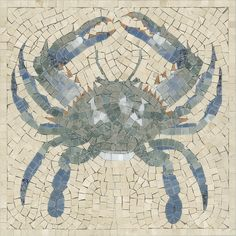 Crab mosaic panel by Appomattox Tile Art. Would be great in a bathroom shower or as a backsplash over the stove.