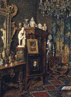 Max Schödl (Austrian, 1834-1921) The artist's studio signed and dated 'Max Schödl 1906' (lower left); titled in German 'Mein Atelier' (on the reverse) oil on panel 12 3/4 x 9 1/2 in. (32.4 x 24.1 cm.) Painted in 1906.