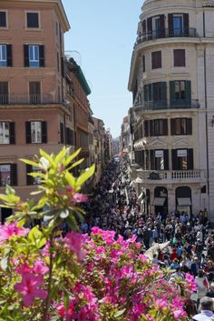 Crowds of toursist visible from the Spanish Steps in Rome